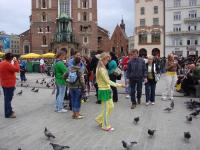 Feeding pigeons at the Market Square