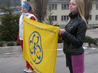 Ранкова церемонія біля прапору